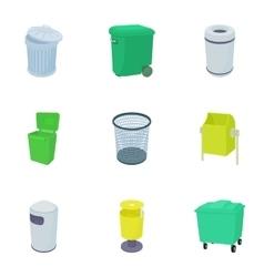 Rubbish bin icons set cartoon style vector