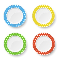 Set of color plates with white polka dot pattern vector image vector image