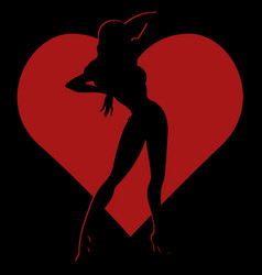 shadow silhouette of hot girl in red heart vector image