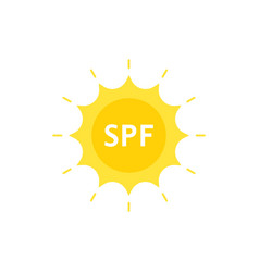 Spf like sun protection factor on sun logo vector