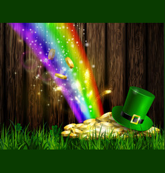 St patrick s day symbol green hat and gold vector