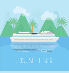 Travel banner with cruise liner time to travel vector