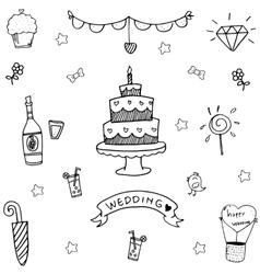 Wedding party doodle art vector