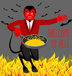 Welcome to hell devil holding frying pan for vector