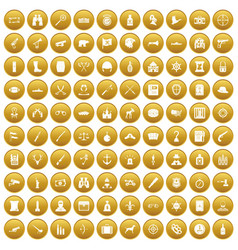 100 guns icons set gold vector