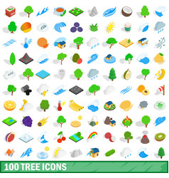100 tree icons set isometric 3d style vector