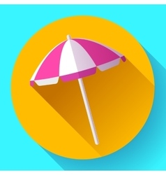 Beach umbrella top view icon  Flat design vector image