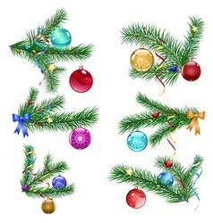 Christmas tree branches with christmas balls vector