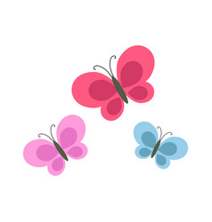 bright cartoon butterflies isolated vector image