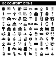 100 comfort icons set simple style vector