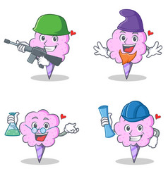 Cotton candy character set with army elf professor vector