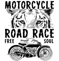 Motorcycle animal tee graphic design vector