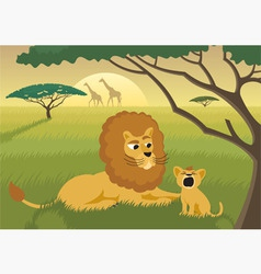 lions in wild vector image