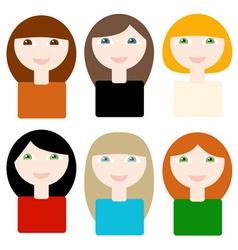6 different smiling cartoon women vector image