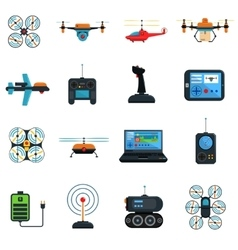 Drones Icons Set vector image