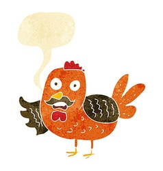 Cartoon old rooster with speech bubble vector