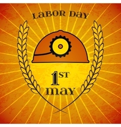 May 1st labor day mine helmet and wheat ears vector