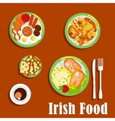 Traditional irish cuisine dishes set vector