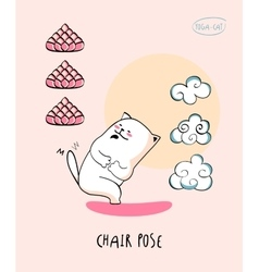 Yoga-cat in chair pose vector