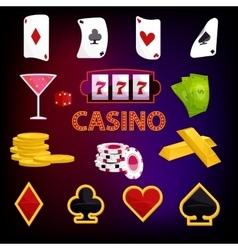 Casino icons set cartoon style vector