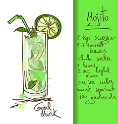 With mojito cocktail vector
