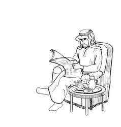 arab man read news paper on sofa - line drawn vector image