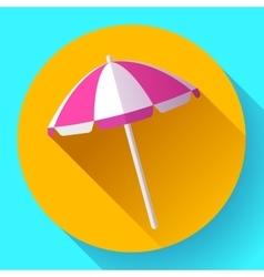Beach umbrella top view icon flat design vector