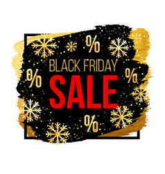 black friday sale banner with snowflakes vector image