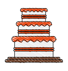 Color crayon stripe image wedding cake with cream vector