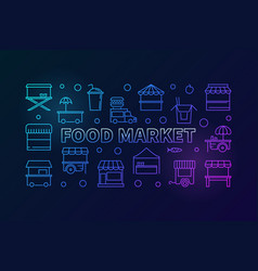 colored food market horizontal line banner vector image vector image