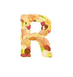 delicious letter made from different nuts r vector image