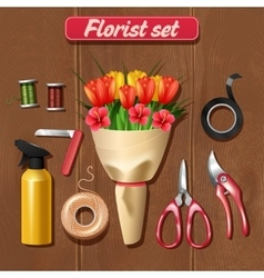 Florist accessories set vector