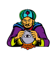 Fortune teller with crystal ball woodcut vector