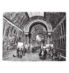 Gallery in the louvre vintage vector