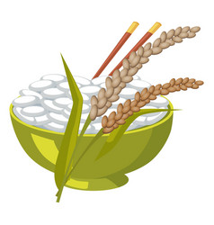 Green bowl with rice and chopsticks near its ears vector