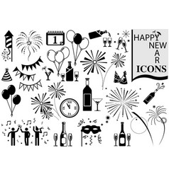 happy new year icon collection vector image vector image
