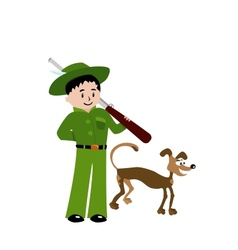 Isolated of hunter with dog vector