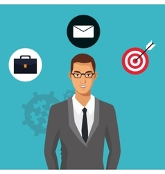 Man with glasses suit business icons vector