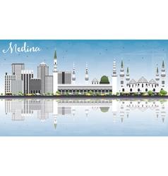 Medina skyline with gray buildings blue sky vector