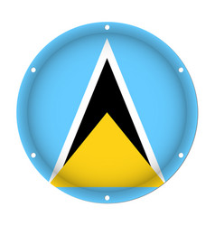 Round metallic flag - saint lucia with screw holes vector