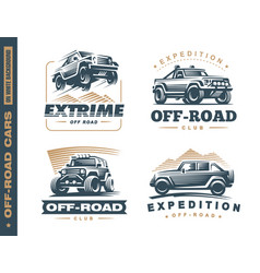 Set of four off-road suv car monochrome labels vector