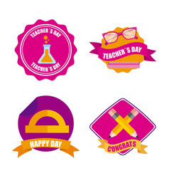 Set of teachers day celebration badge decoration vector