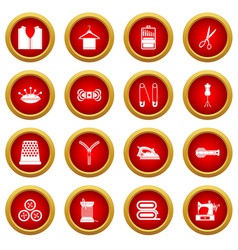 sewing icon red circle set vector image