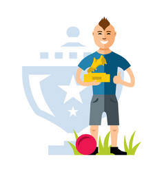 soccer player with the award at the hands vector image vector image
