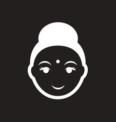Stylish black and white icon indian woman vector