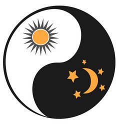 sun and moon in ying yang symbol vector image vector image