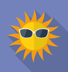 Sun with glasses icon modern flat style with a vector