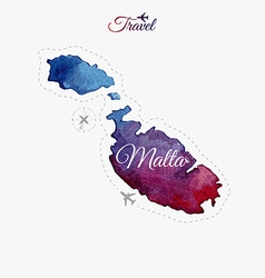 Travel around the world Malta Watercolor map vector image