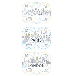 Website banner and landing page paris london new vector