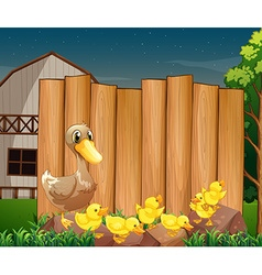 Wooden sign and ducks in the farm vector